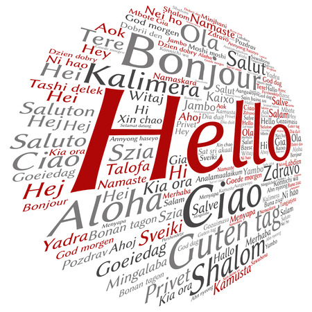 Conceptual abstract hello or greeting international word cloud in different languages