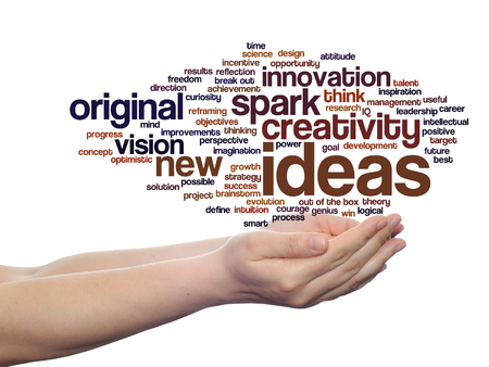 Concept conceptual creative new ideas brainstorming word cloud in hands isolated Stock Photo
