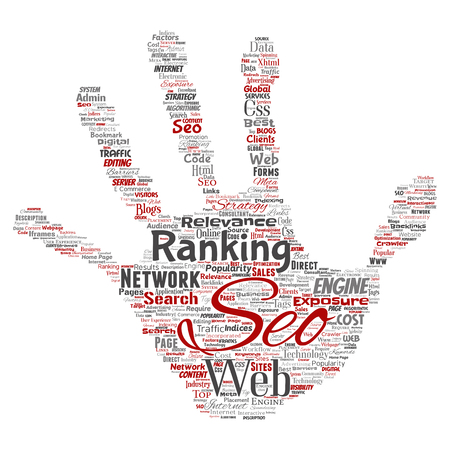 Conceptual search results engine optimization top rank seo hand print stamp online internet word cloud text isolated on background. Marketing strategy web page content relevance network concept