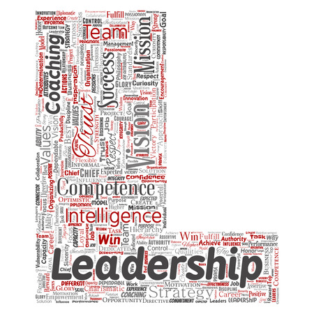 Vector conceptual business leadership strategy, management value letter font L word cloud isolated background.