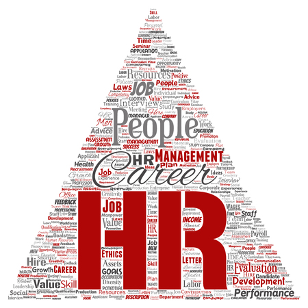 Vector concept conceptual hr or human resources career management triangle arrow word cloud isolated background.