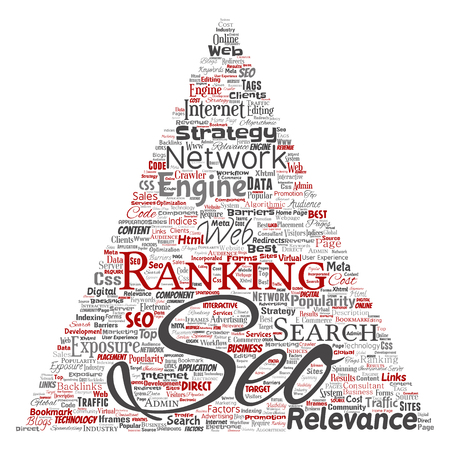 Vector conceptual search results engine optimization top rank seo triangle arrow online internet word cloud text isolated on background.