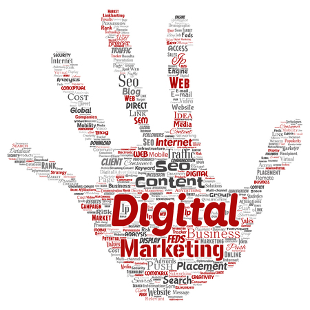 Vector concept or conceptual digital marketing seo traffic hand print stamp word cloud isolated background. Collage of business, market content, search, web push placement or communication technology