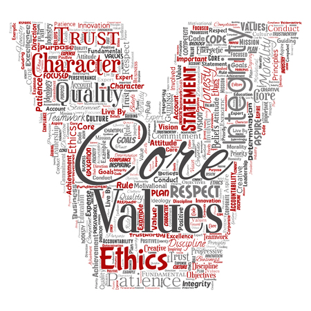 Vector conceptual core values integrity ethics letter font V concept word cloud isolated background. Collage of honesty quality trust, statement, character, perseverance, respect and trustworthy Ilustrace