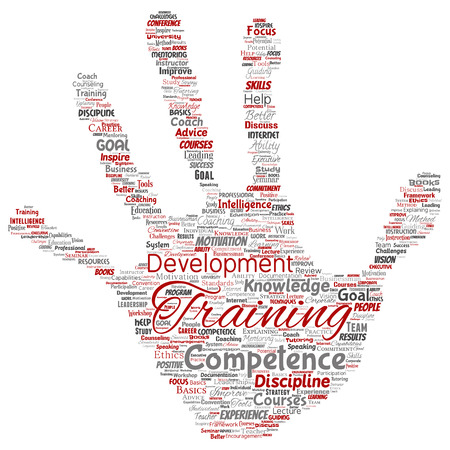 Conceptual training, coaching or learning, study hand print stamp word cloud isolated on background. Collage of mentoring, development, motivation skills, career, potential goals or competence Stock Photo