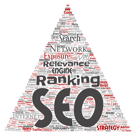 Vector conceptual search results engine optimization top rank seo triangle arrow online internet word cloud text isolated on background. Marketing strategy web page content relevance network concept