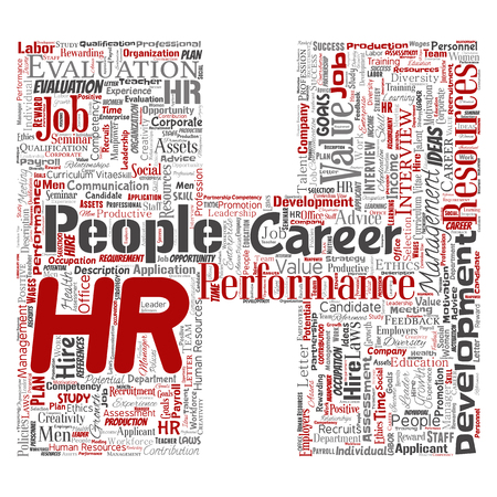 Vector concept conceptual hr or human resources career management letter font H word cloud isolated background. Collage of workplace, development, hiring success, competence goal, corporate or job 일러스트