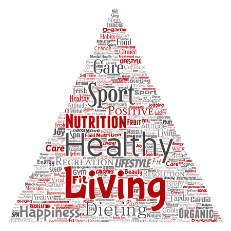 Vector conceptual healthy living positive nutrition sport triangle arrow word cloud isolated background. Collage of happiness care, organic, recreation workout, beauty, vital healthcare spa concept