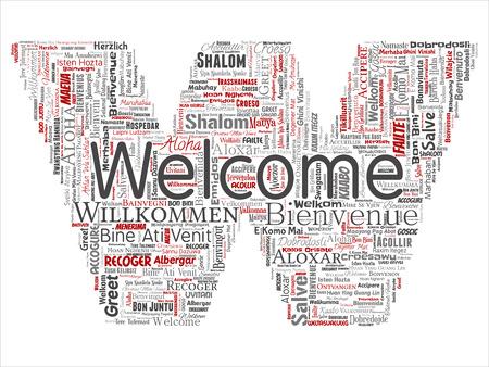 Vector conceptual abstrato bem-vindo ou saudação internacional letra fonte W palavra nuvem em línguas diferentes ou multilingue. Colagem do mundo, estrangeiros, viagens em todo o mundo traduzir, turismo de férias Ilustración de vector