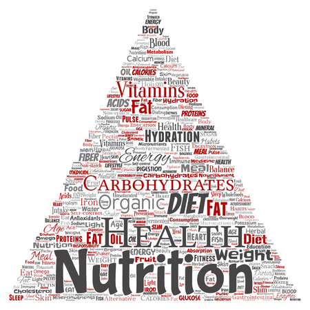 Vector conceptual nutrition health diet triangle arrow word cloud isolated background. Collage of carbohydrates, vitamins, fat, weight, energy, antioxidants beauty mineral, protein medicine concept