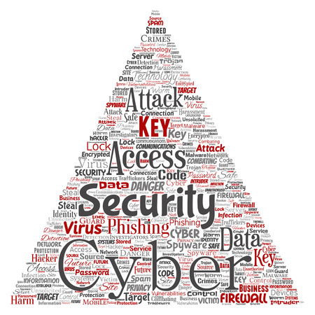 Vector conceptual cyber security online access technology triangle arrow word cloud isolated background.