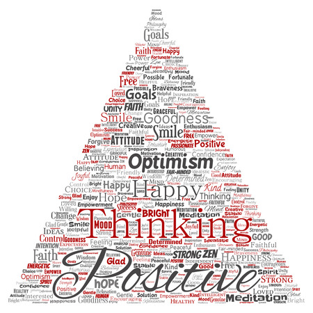 Vector conceptual positive thinking, happy strong attitude triangle arrow word cloud isolated on background.