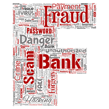 Vector conceptual bank fraud payment scam danger letter font F word cloud isolated background. Collage of password hacking, virus fake authentication, illegal transaction or identity theft concept Illustration