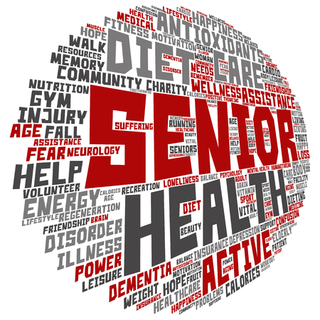 Conceptual old senior health, care or elderly people abstract word cloud isolated Stock Photo