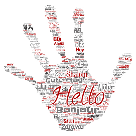 Concept or conceptual hand print stamp hello or greeting international tourism word cloud in different languages or multilingual. Collage of world, foreign, worldwide travel translate, vacation Stok Fotoğraf