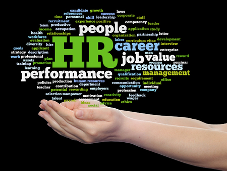 Concept conceptual hr or human resources management abstract word cloud in hand isolated Stock fotó