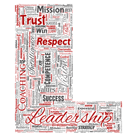 Conceptual business leadership strategy, management value letter font L word cloud isolated background. Collage of success, achievement, responsibility, intelligence authority or competence Stock fotó
