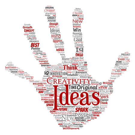 Vector conceptual creative idea brainstorming human hand print stamp word cloud isolated background. Collage of spark creativity original, innovation vision, think, achievement or smart genius concept Illustration
