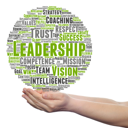 Concept or conceptual business leadership, management value word cloud in hand isolated