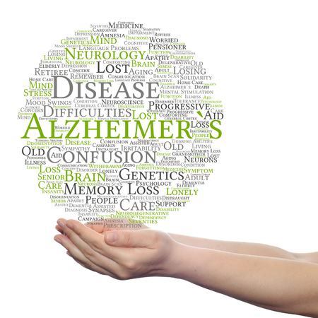Concept or conceptual Alzheimer`s disease symptom abstract word cloud held in hands Stock Photo