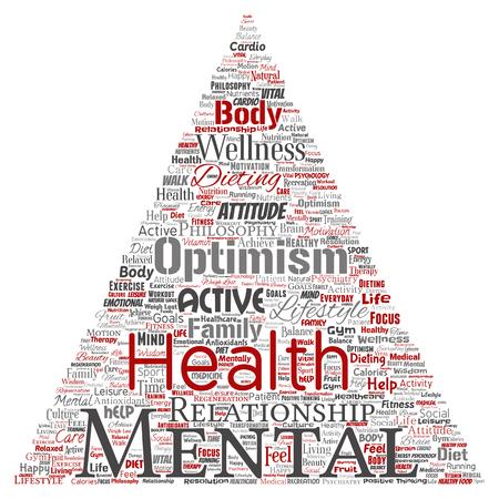 Vector conceptuele geestelijke gezondheid of positief denken driehoek pijl woord wolk geïsoleerde achtergrond. Collage van optimisme, psychologie, geest gezondheidszorg, denken, houding evenwicht of motivatie tekst
