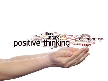 Concept or conceptual positive thinking, happy strong attitude word cloud in hand isolated