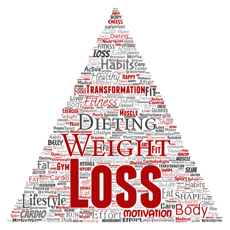 Vector conceptual weight loss healthy diet transformation triangle arrow word cloud isolated background. Collage of fitness motivation lifestyle, before and after workout slim body beauty concept Illustration