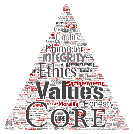 Vector conceptual core values integrity ethics triangle arrow concept word cloud isolated background. Collage of honesty quality trust, statement, character, perseverance, respect and trustworthy Illustration