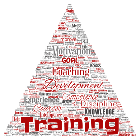 Vector conceptual training, coaching or learning, study triangle arrow word cloud isolated on background. Collage of mentoring, development, motivation skills, career, potential goals or competence Illustration