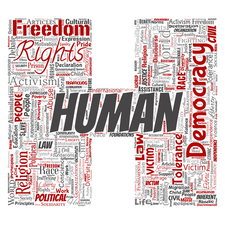 Vector conceptual human rights political freedom, democracy letter font H word cloud isolated background. Collage of humanity tolerance, law principles, people justice or discrimination concept