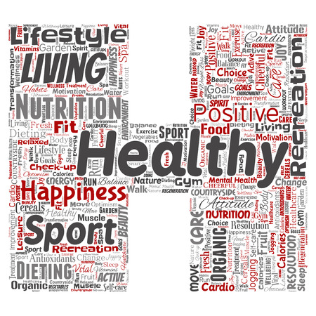 Vector conceptual healthy living positive nutrition sport letter font H word cloud isolated background. Collage of happiness care, organic, recreation workout, beauty, vital healthcare spa concept