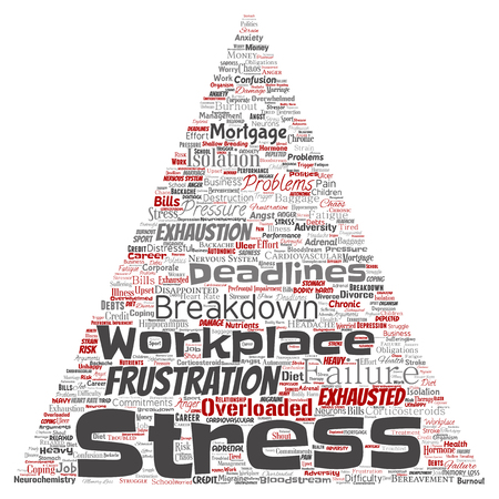 Vector conceptual mental stress at workplace or job pressure human triangle arrow word cloud isolated background. Collage of health, work, depression problem, exhaustion, breakdown, deadlines risk Illustration
