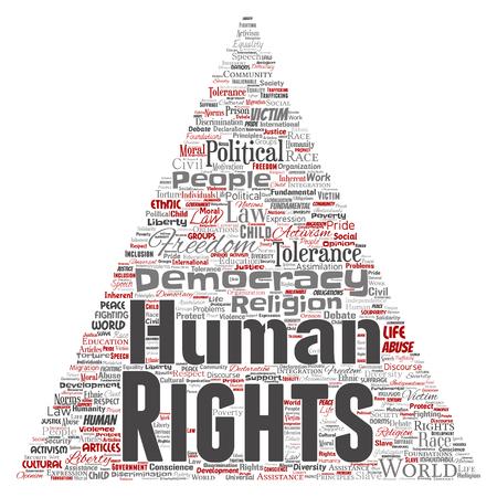 Politische Freiheit der Begriffsmenschenrechte, Demokratiedreieckpfeil-Wortwolke lokalisierte Hintergrund. Collage der Menschlichkeitstoleranz, der Gesetzesgrundsätze, der Leutegerechtigkeit oder des Diskriminierungskonzeptes