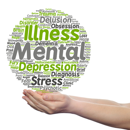 Concept conceptual mental illness disorder management or therapy  word cloud in hands isolated Stock Photo