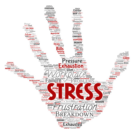Vector conceptual mental stress at workplace or job pressure human hand print stamp word cloud isolated background. Collage of health, work, depression problem, exhaustion, breakdown, deadlines risk Illustration