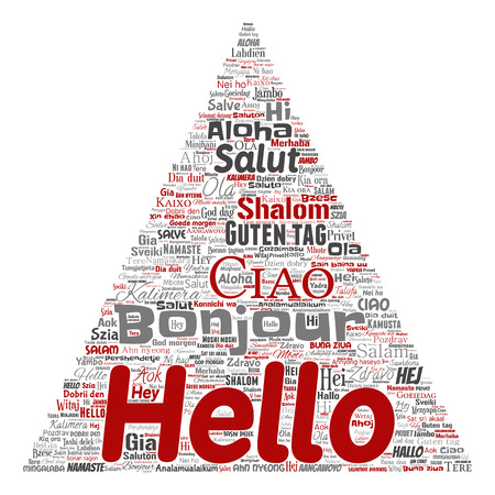 Vector concept or conceptual triangle arrow hello or greeting international tourism word cloud in different languages or multilingual. Collage of world, foreign, worldwide travel translate, vacation Çizim