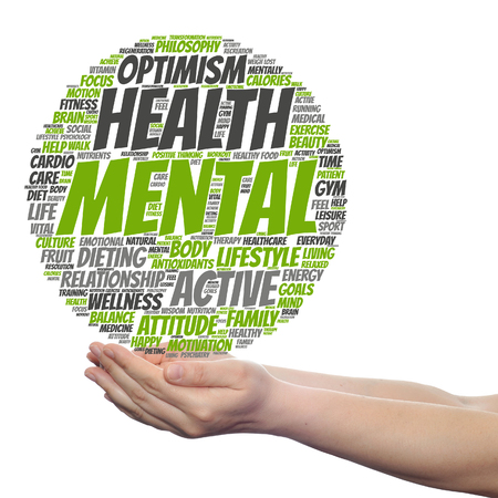 Concept or conceptual mental health or positive thinking word cloud held in hands isolated Stock Photo