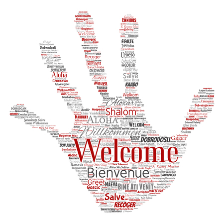 Vector conceptual abstract welcome or greeting international hand print stamp word cloud in different languages or multilingual. Çizim