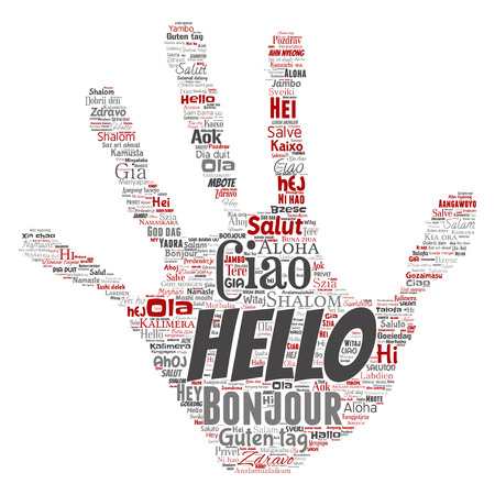 Vector concept or conceptual hand print stamp hello or greeting international tourism word cloud in different languages or multilingual. Stok Fotoğraf - 95305151