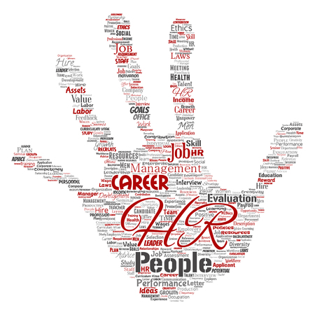Vector concept conceptual hr or human resources career management hand print stamp word cloud isolated background.