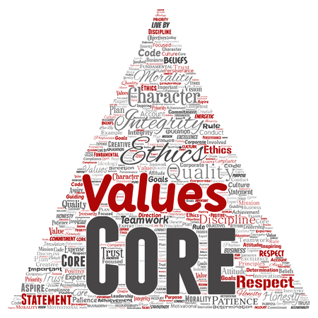 Vector conceptual core values integrity ethics triangle arrow concept word cloud isolated background. Collage of honesty quality trust, statement, character, perseverance, respect and trustworthy Ilustração