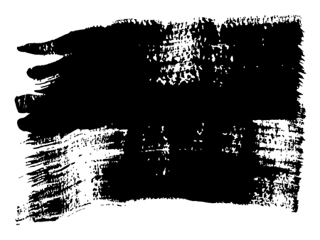 Artistic freehand black paint, ink or acrylic hand made creative brush stroke background isolated on white as grunge or grungy art spray effect, education abstract elements dark frame design Stock Photo