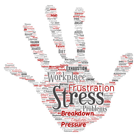 Conceptual mental stress at workplace or job pressure human hand print stamp word cloud isolated background. Collage of health, work, depression problem, exhaustion, breakdown, deadlines risk Stock Photo