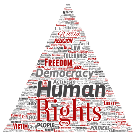 Vector conceptual human rights political freedom, democracy triangle arrow  word cloud isolated background. Collage of humanity tolerance, law principles, people justice or discrimination concept Vettoriali