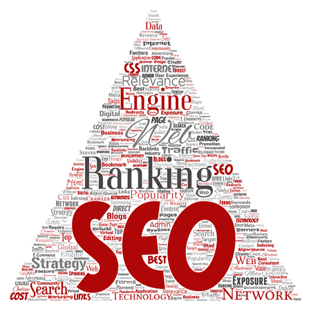 Conceptual search results engine optimization top rank seo triangle arrow online internet word cloud text isolated on background. Marketing strategy web page content relevance network concept Stok Fotoğraf - 95691302