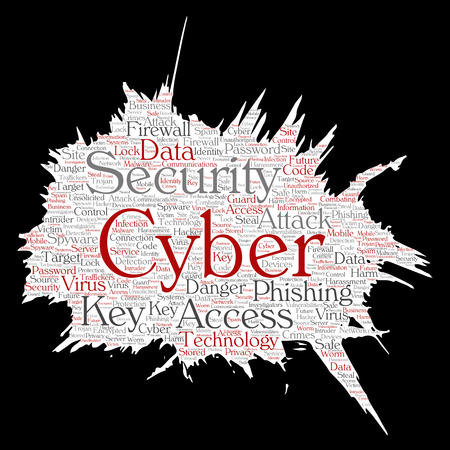 Vector conceptual cyber security online access technology paint brush paper word cloud isolated background. Collage of phishing, key virus, data attack, crime, firewall password, harm, spam protection Illustration
