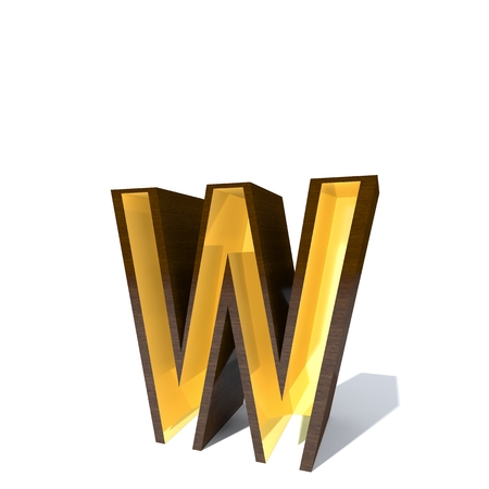 Conceptual wood or wooden brown font or type with gold or golden metal interior isolated on white background. Educative hadwood material, smooth surface mahogany handmade rich 3D illustration object
