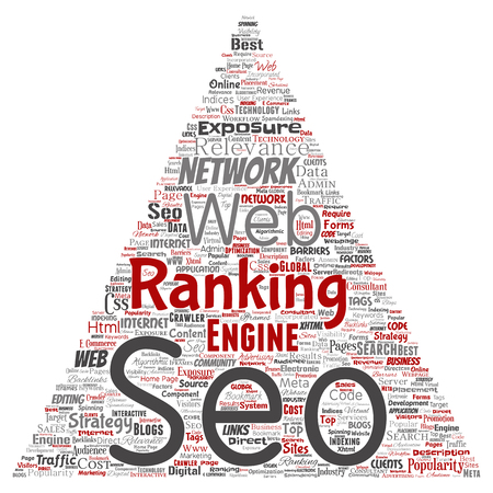 Conceptual search results engine optimization top rank seo triangle arrow online internet word cloud text isolated on background. Illustration