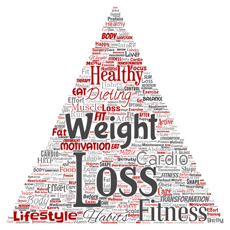 Conceptual weight loss healthy diet transformation triangle arrow word cloud isolated background.