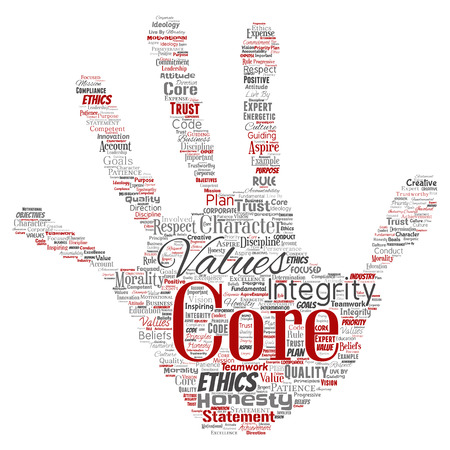 Conceptual core values integrity ethics hand print stamp concept word cloud isolated background. Collage of honesty quality trust, statement, character, perseverance, respect and trustworthy Stock Photo